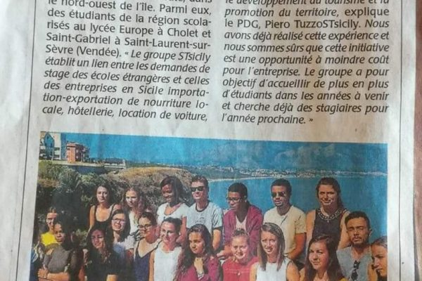 Education. Des ètudiants du Choletais en stage en Sicile
